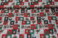 Weihnachtsstoff Eulen - Patch - Red - Green