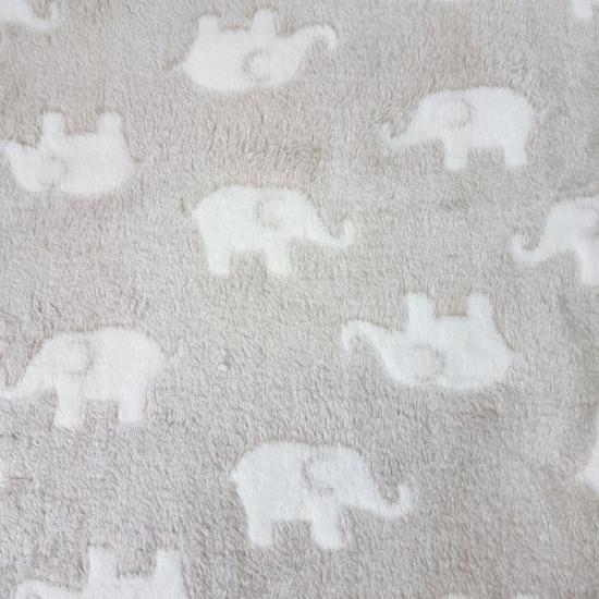 Wellnessfleece - Elefanten - Helles Taupe