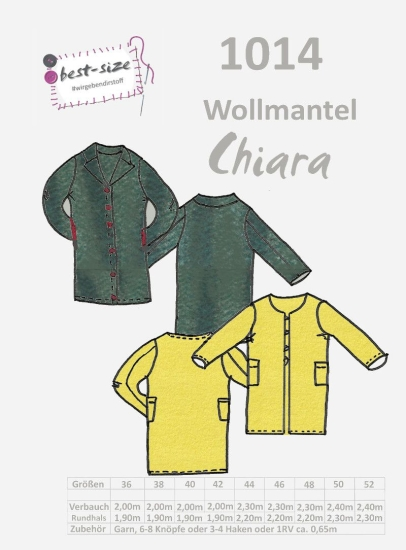 best-size Schnittmuster - Wollmantel - Chiara